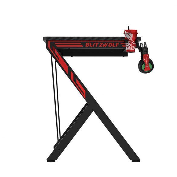 Blitztwolf BW-GD1 Scrivania Gaming Ergonomica, con Sistema di Gestione dei Cavi, Supporto per Cuffia, 109X 60 X 76 cm
