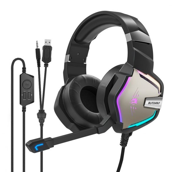 7.1 Cuffie Surround Gamer - BlitzWolf BW-GH1; LED RGB, riduzione del rumore, design ergonomico
