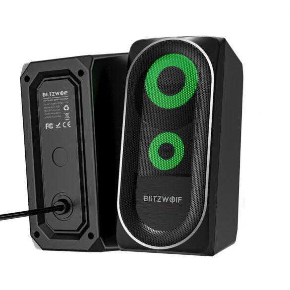 BlitzWolf BW-GT1 - Altoparlante per computer con illuminazione RGB, potenziamento dei bassi, dimensioni compatte