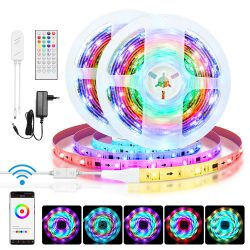 Striscia LED intelligente BlitzWolf® BW-LT31 - Lunghezza 5m / 10m, App e telecomando IR, modalità musica, vari effetti di luce