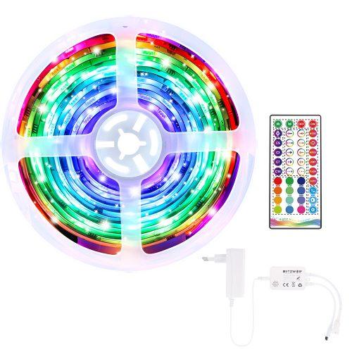 Striscia LED intelligente BlitzWolf® BW-LT33 - Lunghezza 5m,  App e telecomando IR, modalità musica, vari effetti di luce