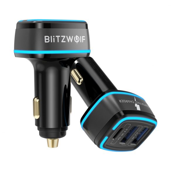 Caricabatterie per auto BlitzWolf® BW-SD7 30W  2xQC4.0 + 1x PD tecnologia di ricarica rapida, illuminazione a LED