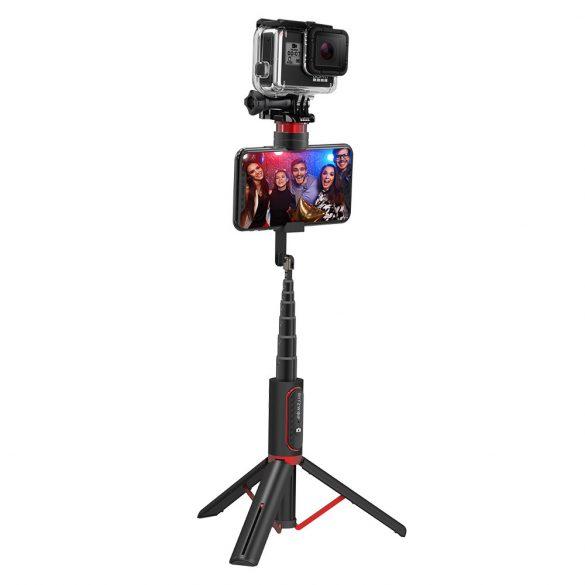 BlitzWolf® BW-BS10 sport All in One portatile bluetooth Selfie Stick Morsetto per telefono nascosto con treppiede retrattile - Nero