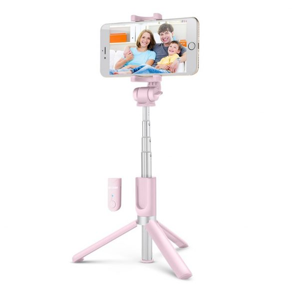 BlitzWolf BW-BS3 pink Extendable Selfie Stick Tripod with Wireless Remote