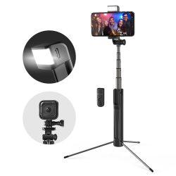 Blitzwolf BW-BS8 Treppiede allungabile per selfie bluetooth con luce di riempimento a LED per fotocamera sportiva per telefono - Nero
