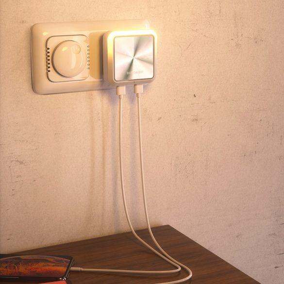 BlitzWolf® BW-LT14 Sensore di luce intelligente plug-in Luce notturna a LED con doppia presa di ricarica USB