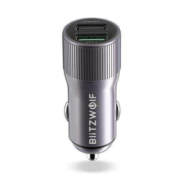 BlitzWolf® BW-SD2 30W QC3.0 2.4A Dual USB Ports Caricabatterie rapido per auto per iPhone XS Xiaomi Mi8 Pocophone F1 - Grigio