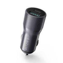 BlitzWolf® BW-SD4 36W USB Tipo C PD Caricatore mini per auto a ricarica rapida per iPhone X XS Max Xiaomi Mi9 Pocophone F1 S10 S10 + - Grigio