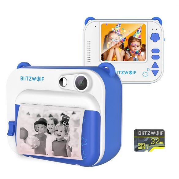 Blitzwolf BW-DP1 - Fotocamera per bambini e stampante istantanea in uno: 1080P, 30 fps, filtri, ecc. - blu