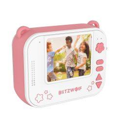 Blitzwolf BW-DP1 - Fotocamera per bambini e stampante istantanea in uno: 1080P, 30 fps, filtri, ecc. - rosa
