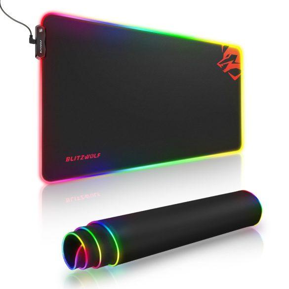 Blitzwolf BW-MP1 - Tappetino per mouse impermeabile, illuminato RGB, antiscivolo con 10 diversi effetti di luce, dimensioni: 800x400x5
