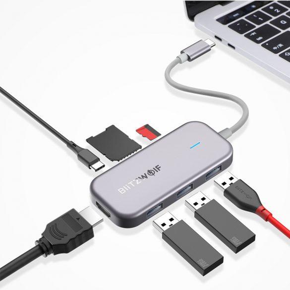 BlitzWolf® BW-TH5 Hub dati USB-C 7 in 1 con lettore di schede TF USB 3.0 a 3 porte, HDMI, ricarica USB-C PD