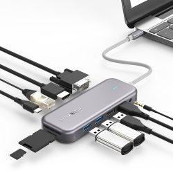 Blitzwolf BW-TH8 Hub 11 in uno: 100W, porta USB 3.0, lettore di schede SD, 4K HDMI, VGA, Jack, porta LAN