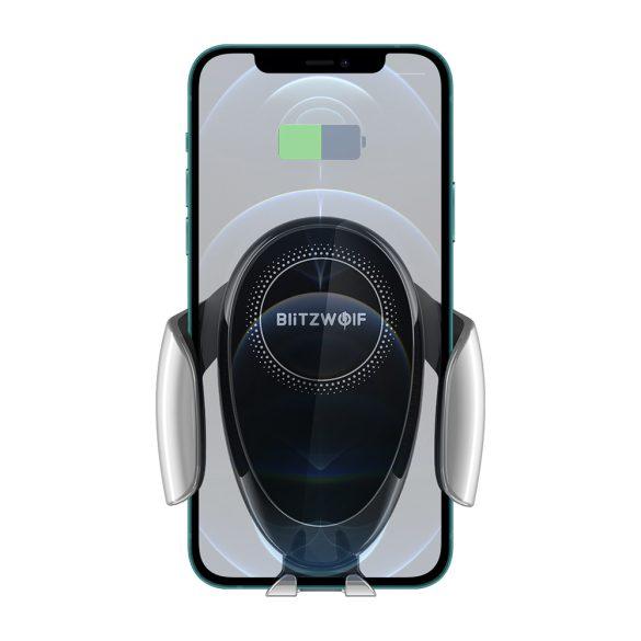 BlitzWolf® BW-CW3 - Caricabatterie rapido wireless da 15 W + supporto per telefono per auto - per tutti i telefoni che supportano la ricarica wireless (standard QI)