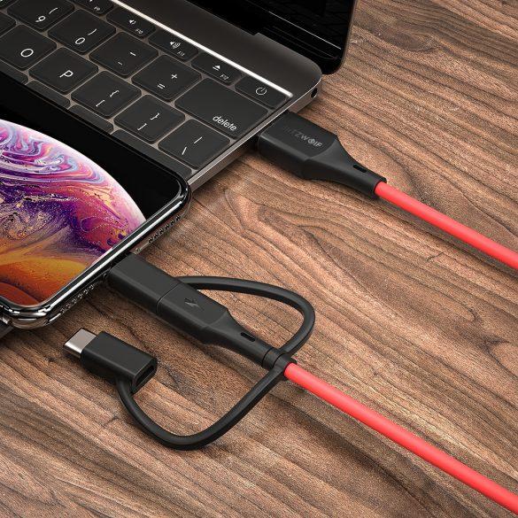 BlitzWolf® BW-MF4 3in1: Type C, Apple Lightning, Micro USB  Cavo