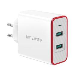 BlitzWolf® BW-PL3 36W QC3.0 Adattatore UE per caricabatterie USB a doppia porta con tecnologia Power3S - bianco