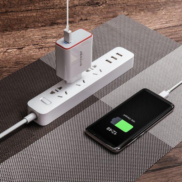 BlitzWolf® BW-PL4 45W PD Tipo C Caricabatterie USB Adattatore UE con tecnologia Power3S - bianco