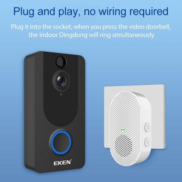 Videocitofono intelligente EKEN V7 1080P -Wifi con controllo app + batteria + campanello interno