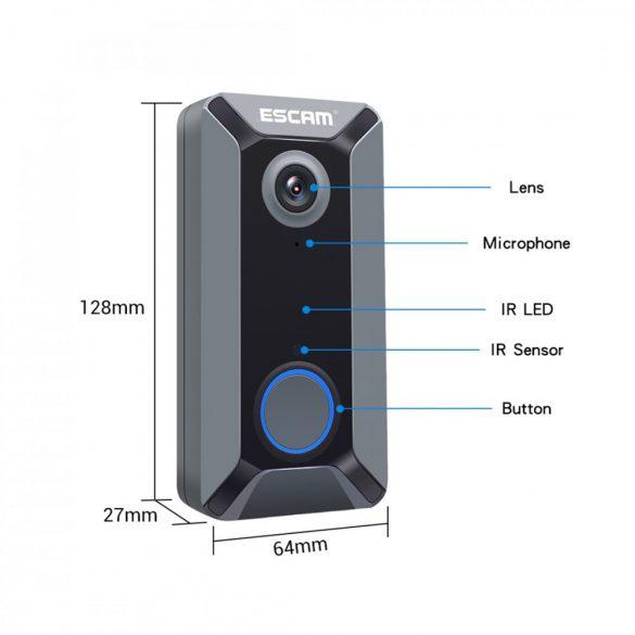 Videocitofono intelligente ESCAM V6 720P-Wifi con controllo app + batteria + campanello interno