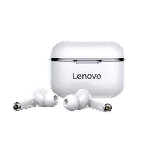 Lenovo LivePods LP1 bianco - Cuffie sportive impermeabili IPX4 con microfono a cancellazione di rumore. Ricarica dei bassi HIFI di type C.