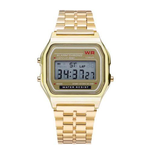 Orologio al quarzo retrò - colore oro, design impermeabile (IP44), cassa in acciaio inossidabile