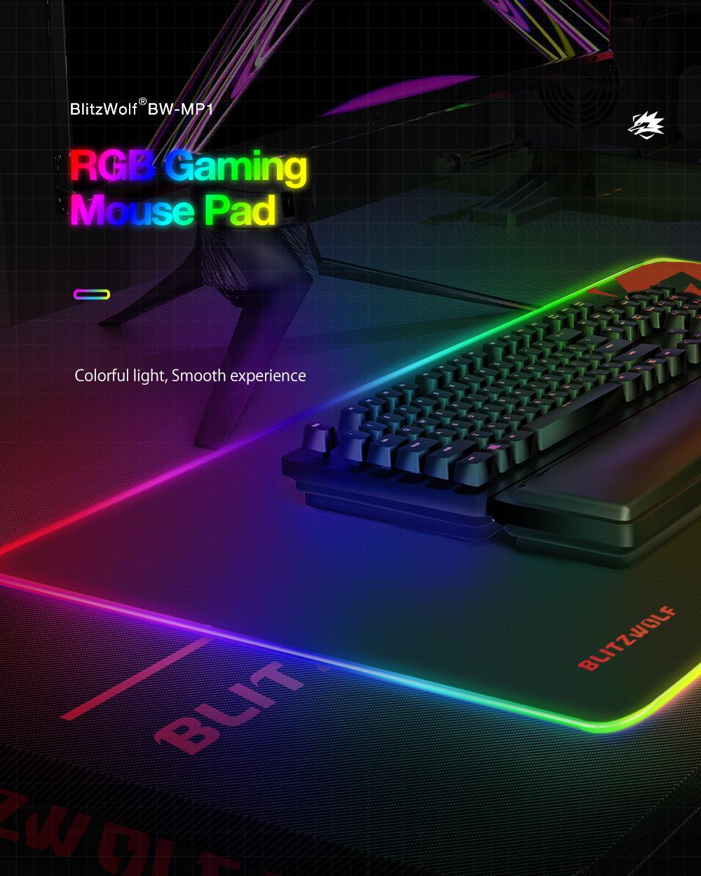 Blitzwolf BW-MP1 vízálló RGB gamer egérpad